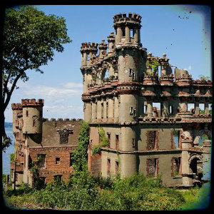 An up close view of Bannerman Castle on Pollopel Island in the Hudson River