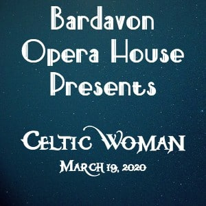 Dark blue sparkling background with text Bardavon Opera House presents Celtic Woman
