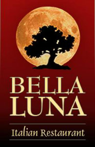 Red poster with a yellow moon and black tree for Bella Luna Italian Restaurant