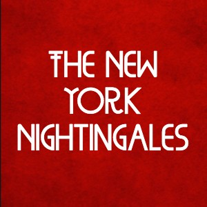 Bright red wallpaper background with text, The New York Nightingales