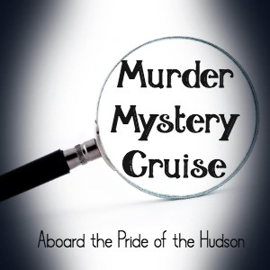 White backgroud with one magnifying glass and text Murder Mystery Cruise