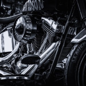 Black and white motorcycle showing the chrome detail on a harley davidson