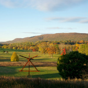 Large open field in the fall with outdoor sculptures throughout the scene