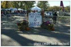 Entrance sign to the Garlic Festival in Saugerties, NY