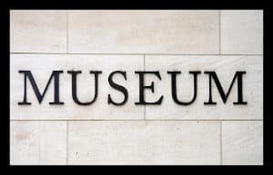 Text Museum on a marble wall background