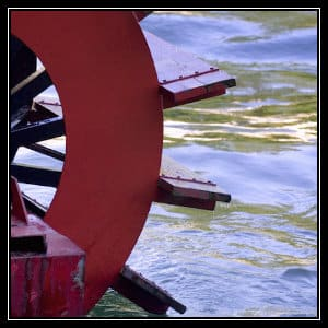 red paddle from paddleboat in the water