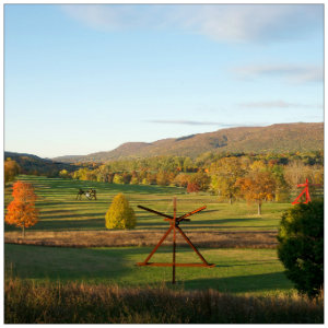 Beautiful lush valley showing art sculptures at Storm King Art Center