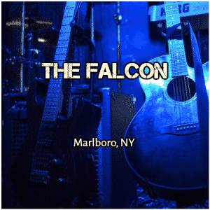 dark blue background of a music stage with guitar standing on stand and text The Falcon
