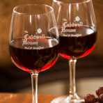 Caldwell House Logo Wine Glass